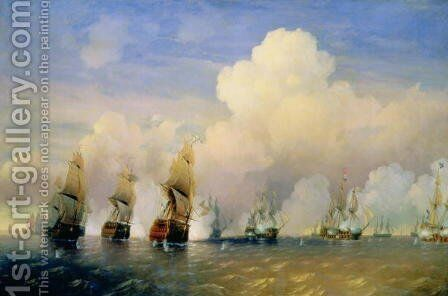 The Russo-Swedish Sea War near Kronstadt in 1790 by Aleksei Petrovich Bogolyubov - Reproduction Oil Painting