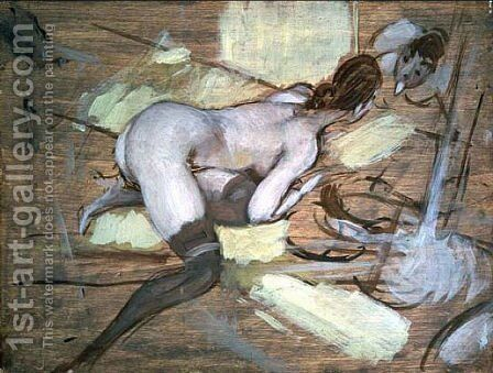 Nude Woman reclining on Yellow Cushions by Giovanni Boldini - Reproduction Oil Painting