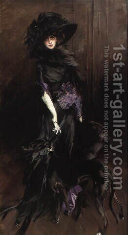 Portrait of Marchesa Luisa Casati with a greyhound 1908 by Giovanni Boldini - Reproduction Oil Painting