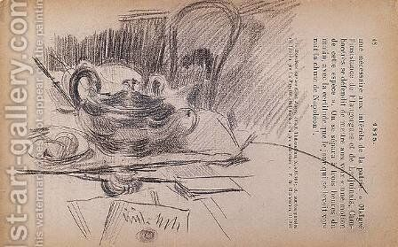 Still Life with a Silver Teapot by Giovanni Boldini - Reproduction Oil Painting