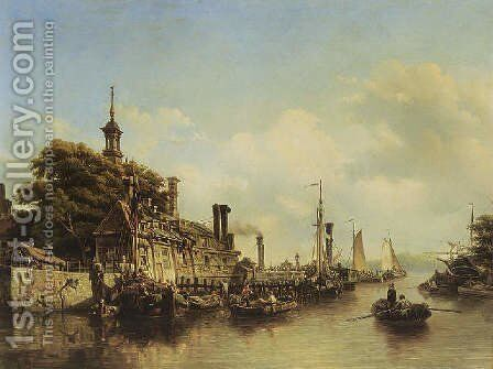 A view of the Hoofdpoort, Rotterdam 1851 by Elias Pieter van Bommel - Reproduction Oil Painting