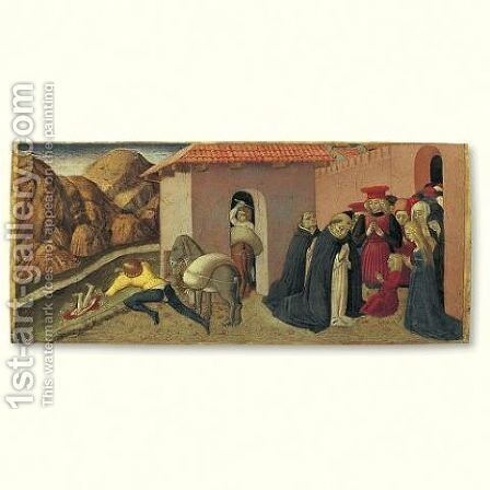 The Miracle of St. Peter Martyr- A predella panel by Benedetto Bonfigli - Reproduction Oil Painting