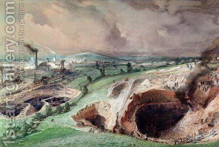 Open-cast Mines at Blanzy, Saone-et-Loire, 1857 by Ignace Francois Bonhomme - Reproduction Oil Painting