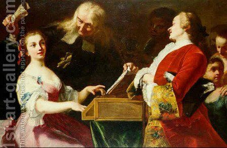 A Musical Party by Giuseppe Bonito - Reproduction Oil Painting