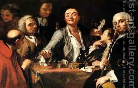 A Musical party- and the poet by Giuseppe Bonito - Reproduction Oil Painting