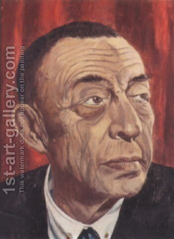 Portrait of Sergei Rachmaninov by Alexandr Alekseevich Borisov - Reproduction Oil Painting