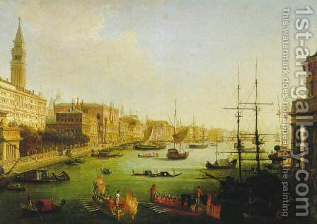 A view of the Grand Canal with Austrian officers approachingin gondolas the piazetta Venice 1819 by Giuseppe Borsato - Reproduction Oil Painting