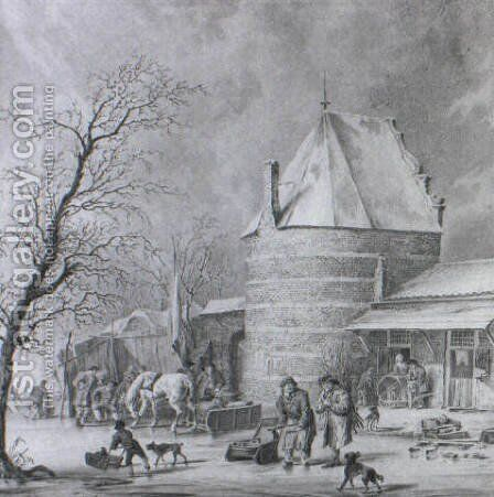 Skaters, Countryfolk and a Sledge on a frozen Moat near a Tower and Gate... by Cornelis Borsteegh - Reproduction Oil Painting