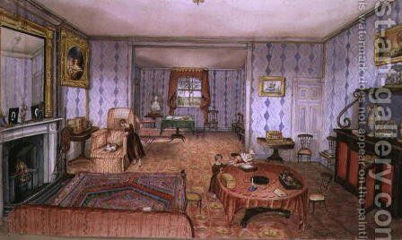 Drawing Room, Clay Hill, f12 from An Album of Interiors, 1843 by Charlotte Bosanquet - Reproduction Oil Painting