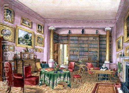 Library, Vinters, f.16 from an 'Album of Interiors' 1843 by Charlotte Bosanquet - Reproduction Oil Painting