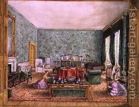 The Drawing Room at Meesdenbury, f13 from An Album of Interiors, 1843 by Charlotte Bosanquet - Reproduction Oil Painting