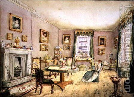 The Drawing Room, East Wood, Hay, f54 from an Album of Interiors, 1843 by Charlotte Bosanquet - Reproduction Oil Painting