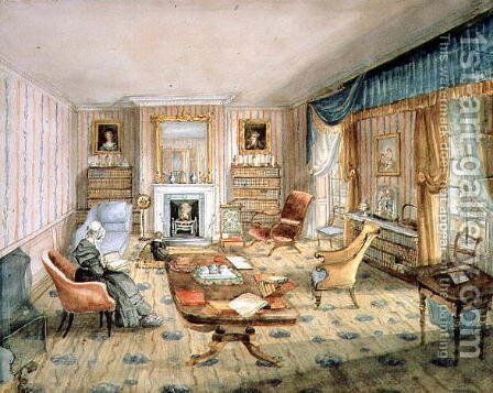 The Drawing Room, White Barnes, f.55 from an 'Album of Interiors', 1843 by Charlotte Bosanquet - Reproduction Oil Painting
