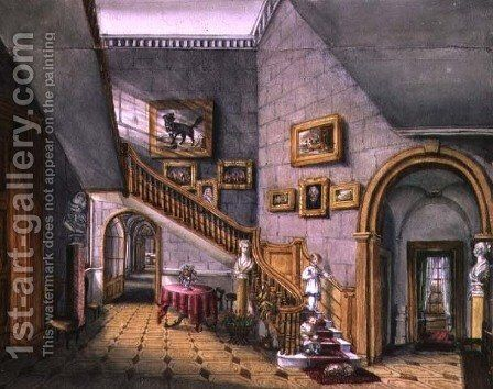 The Staircase, Strood Park, f26 from An Album of Interiors, (1) 1843 by Charlotte Bosanquet - Reproduction Oil Painting