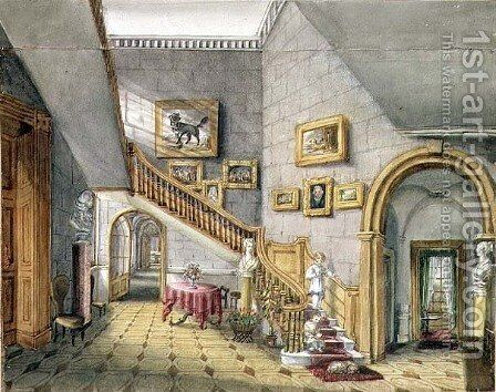 The Staircase, Strood Park, f.26 from an 'Album of Interiors' (2), 1843 by Charlotte Bosanquet - Reproduction Oil Painting