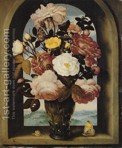 A still life of roses in a berkemeijer glass, with butterflies and a snail, in an arched stone window with a landscape beyond by Ambrosius the Elder Bosschaert - Reproduction Oil Painting