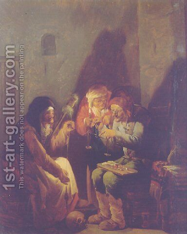 A Vanitas- An old man seated on a barrel weighing gold, an old peasant and a fortune-teller holding a candle, in a barn by Andries Both - Reproduction Oil Painting