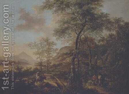 An Italianate evening landscape with a muleteer and goatherds on wooded path, a river and mountains beyond by Jan Both - Reproduction Oil Painting