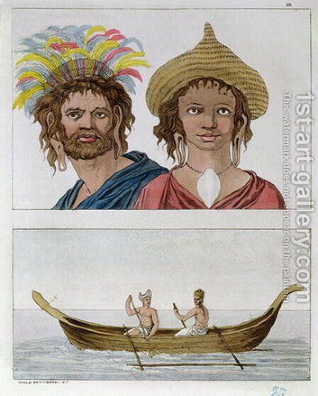 Inhabitants of Easter Island, from 'Le Costume Ancien et Moderne' by Carlo Botticelli - Reproduction Oil Painting