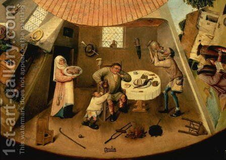 Greed, Scene from the Table of the Seven Deadly Sins by Hieronymous Bosch - Reproduction Oil Painting