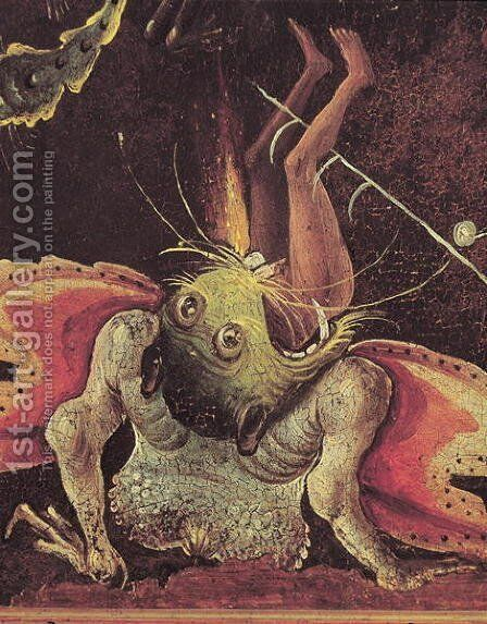 The Last Judgement (detail of a man being eaten by a monster) c.1504 by Hieronymous Bosch - Reproduction Oil Painting