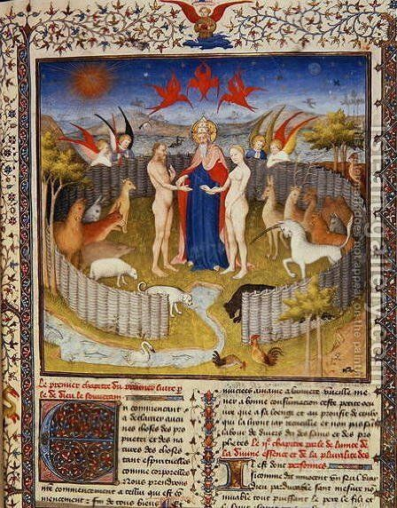 The marriage of Adam and Eve from 'Des Proprietes De Chozes' by Jean Corbechon, c.1415 by Boucicaut Master - Reproduction Oil Painting