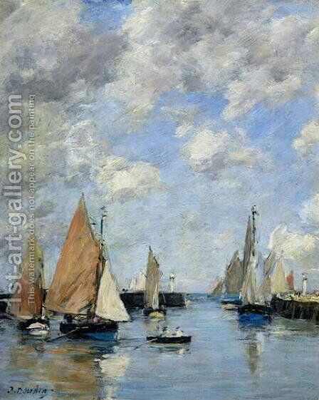 The Jetty at High Tide, Trouville by Eugène Boudin - Reproduction Oil Painting