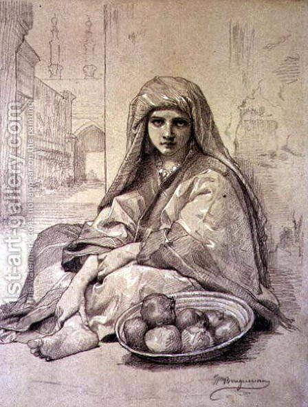 Algerian Girl Selling Pomegranates by William-Adolphe Bouguereau - Reproduction Oil Painting