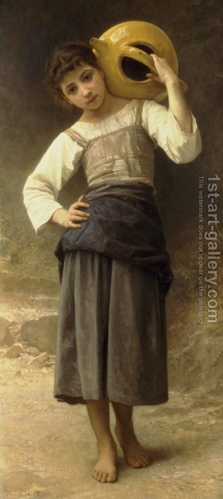 The Water Girl (Young Girl Going to the Spring) 1885 by William-Adolphe Bouguereau - Reproduction Oil Painting