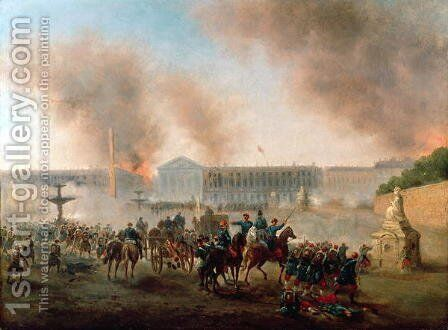 Battle in the Place de la Concorde 1871 by Gustave Boulanger - Reproduction Oil Painting