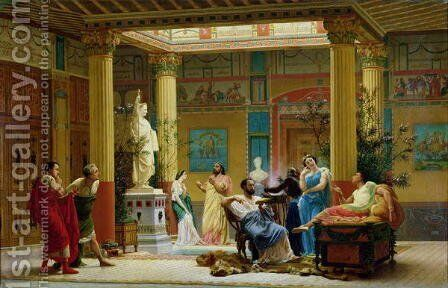 A Performance of 'The Fluteplayer' in the 'Roman' house of Prince Napoleon III, 1861 by Gustave Clarence Rodolphe Boulanger - Reproduction Oil Painting