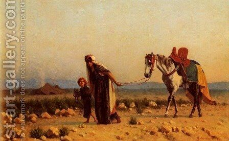 Traveling with Prized Horse 1871 by Gustave Clarence Rodolphe Boulanger - Reproduction Oil Painting
