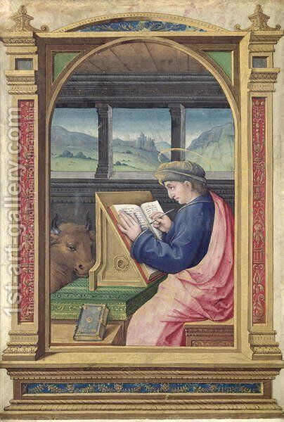 St. Luke Writing, from a Book of Hours by Jean Bourdichon - Reproduction Oil Painting