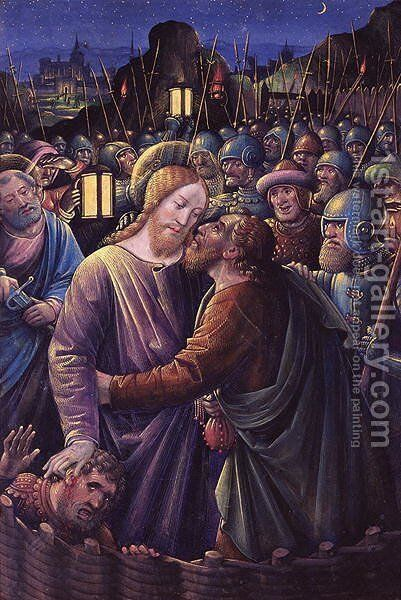 The Kiss of Judas (end of 15th century) by Jean Bourdichon - Reproduction Oil Painting