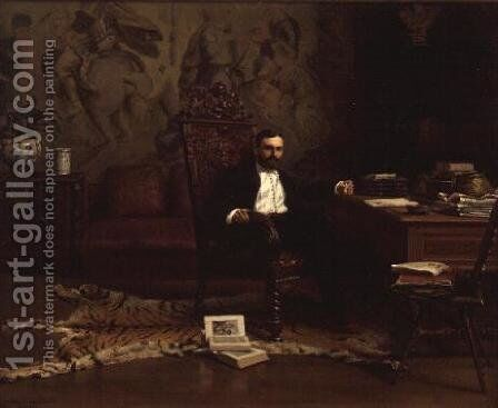 Louis Signorino seated in his study by Gustave Bourgain - Reproduction Oil Painting