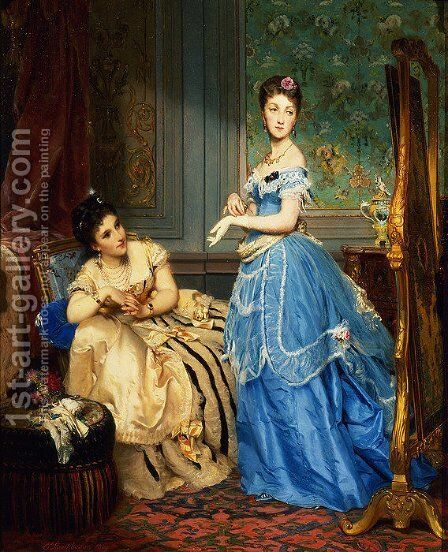 Getting Dressed, 1869 by Charles Edouard Boutibonne - Reproduction Oil Painting