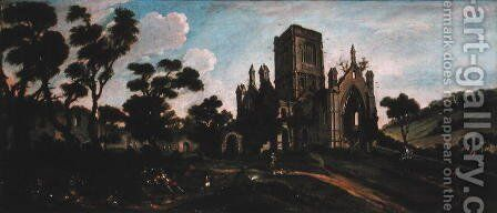 South View of Kirkstall Abbey c.1738 by Johann Baptiste Bouttats - Reproduction Oil Painting