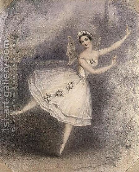 Carlotta Grisi as Giselle, Paris, c.1841 by Auguste Jules Bouvier, N.W.S. - Reproduction Oil Painting