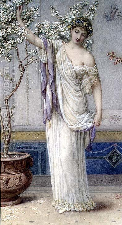 Flora, 1873 by Auguste Jules Bouvier, N.W.S. - Reproduction Oil Painting