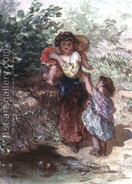 Girl standing with a Child on her Shoulders, another Child by her Side by Auguste Jules Bouvier, N.W.S. - Reproduction Oil Painting