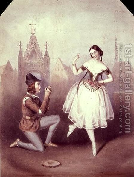 'La Esmeralda'- Carlotta Grisi and Jules Perrot by Auguste Jules Bouvier, N.W.S. - Reproduction Oil Painting