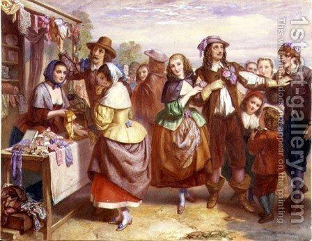 The Outdoor Haberdashery by Auguste Jules Bouvier, N.W.S. - Reproduction Oil Painting
