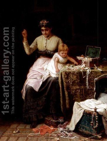 Mischief 1882 by Jane Maria Bowkett - Reproduction Oil Painting