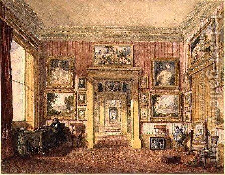 The Dining Room at Thirlestaine House, Cheltenham c.1843 by Harriet Rushout Bowles - Reproduction Oil Painting