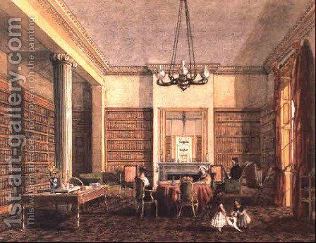 The library at Thirlestaine House, Cheltenham by Harriet Rushout Bowles - Reproduction Oil Painting