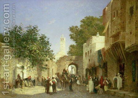 Arab Street Scene, 1872 by Honore Boze - Reproduction Oil Painting