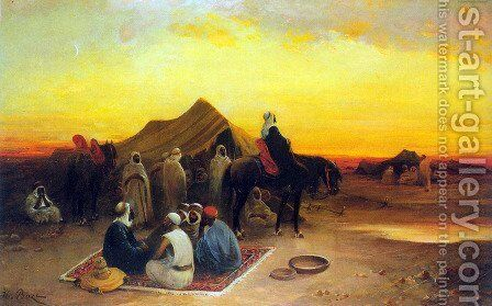 At the oasis by Honore Boze - Reproduction Oil Painting
