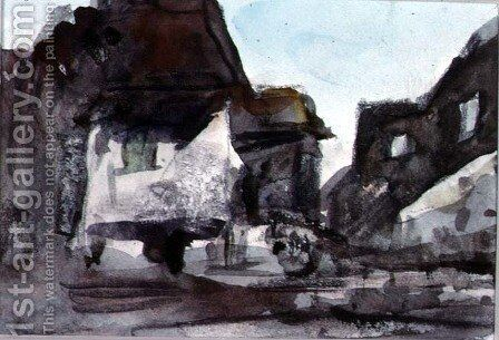 A Group of Houses by Hercules Brabazon Brabazon - Reproduction Oil Painting