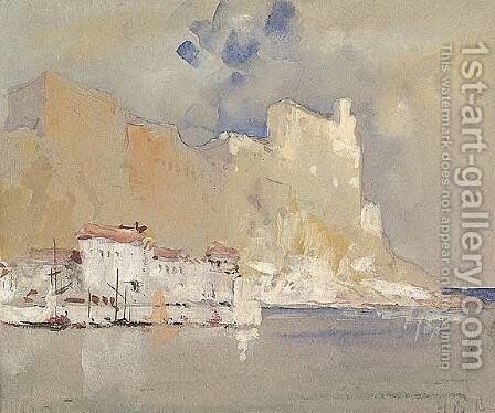 A Mediterranean Seaport 1890 by Hercules Brabazon Brabazon - Reproduction Oil Painting