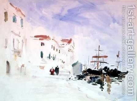 Ships moored near the Redentore, Venice by Hercules Brabazon Brabazon - Reproduction Oil Painting